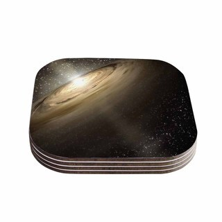 Suzanne Carter 'Galaxy' Black Tan Coasters (Set of 4)