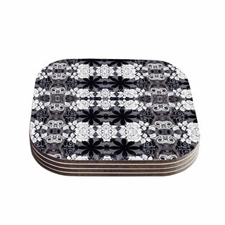Suzanne Carter 'Lacey' Black Gray Coasters (Set of 4)