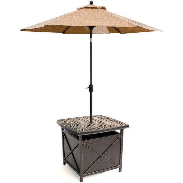 Hanover Outdoor Traditions TRADUMBTBL Cast Top Side Table And Umbrella  Stand   Free Shipping Today   Overstock.com   18689827
