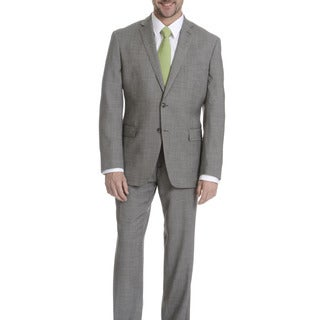 Daniel Hechter Men's Black/White Tick Weave Modern Fit Wool Suit