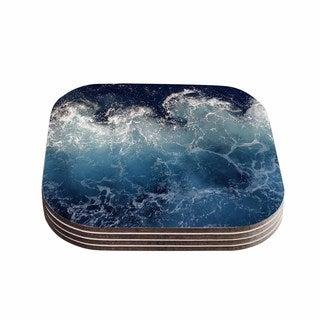 Kess InHouse Suzanne Carter 'Sea Spray' Navy Ocean Coasters (Set of 4)