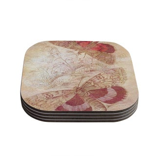 Kess InHouse Suzanne Carter 'Vintage Garden' Butterfly Moth Coasters (Set of 4)