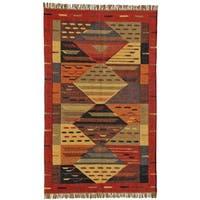 Handwoven Multicolored Wool Jute Kilim Dhurry Rug (6' x 9')