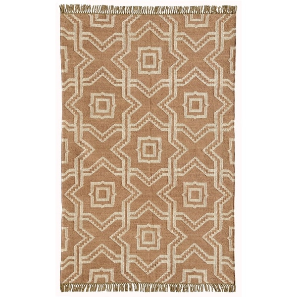 Kilim X and O Tan Wool/Jute Handwoven Dhurry Rug - 6' x 9'