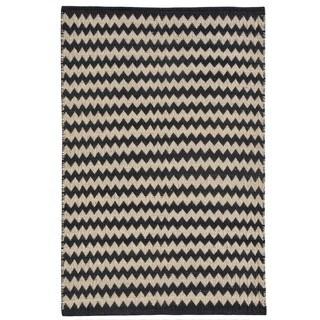 Chevron Ebony/Ivory Jute Handwoven Rug (6' x 9')