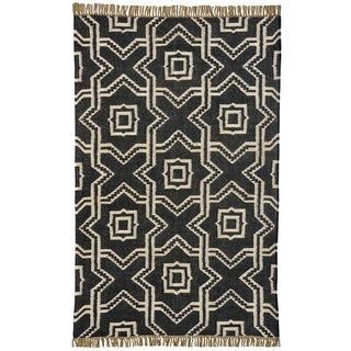 Hand-woven X and O Black Wool Jute Kilim Dhurry Rug (4' x 6')
