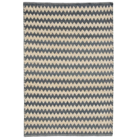 Chevron Grey Jute Handwoven Rug - 4' x 6'