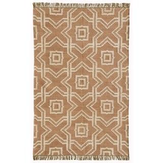 Acura HomesKilim Dhurry Tan Wool/Jute X and O Rug (4' x 6')