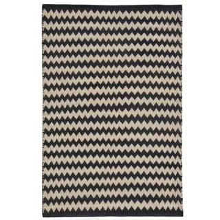 Chevron Ebony/Ivory Jute Handwoven Rug (4' x 6')