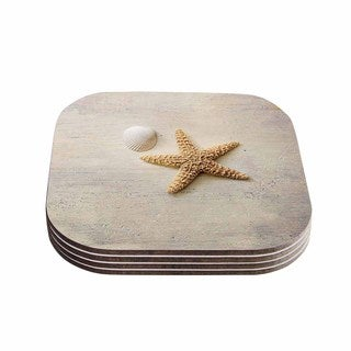 Kess InHouse Sylvia Cook 'Starfish And Shell' Beige Yellow Coasters (Set of 4)