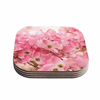 Kess InHouse Sylvia Cook 'Pink Dogwood' Floral Photography Coasters (Set of 4)