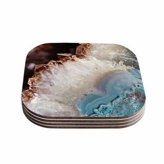 Kess InHouse Sylvia Cook 'Quartz Waves' Blue Brown Coasters (Set of 4)