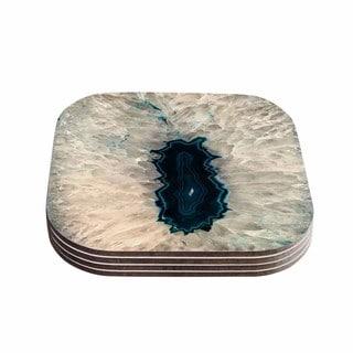 Kess InHouse Sylvia Cook 'Aqua Quartz' Geological White Coasters (Set of 4)