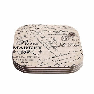 Kess InHouse Sylvia Cook 'French Script' Handwriting Coasters (Set of 4)