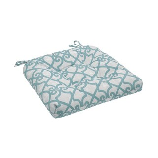 Madison Park Crystal Aqua Printed Fretwork 3M Scotchgard Outdoor Cushion