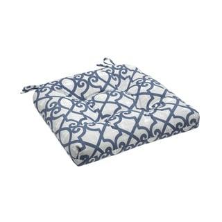 Madison Park Crystal Navy Printed Fretwork 3M Scotchgard Outdoor Cushion