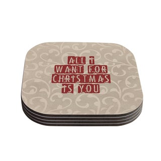 Kess InHouse Sylvia Cook 'All I Want For Christmas' Holiday Coasters (Set of 4)