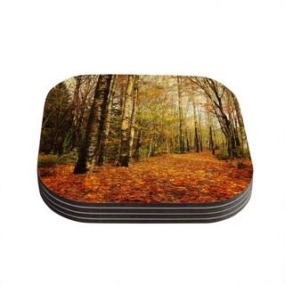 Kess InHouse Sylvia Cook 'Autumn Leaves' Rustic Coasters (Set of 4)