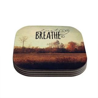 Kess InHouse Sylvia Cook 'Just Breathe' Brown Tan Coasters (Set of 4)