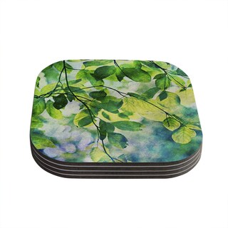Kess InHouse Sylvia Cook 'Leaves' Teal Green Coasters (Set of 4)
