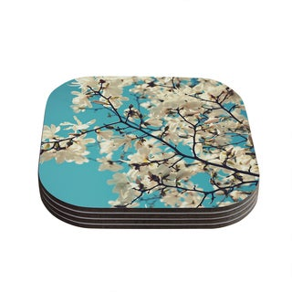 Kess InHouse Sylvia Cook 'White Magnolias' Aqua White Coasters (Set of 4)