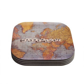 Kess InHouse Sylvia Cook 'Travel Map' World Coasters (Set of 4)