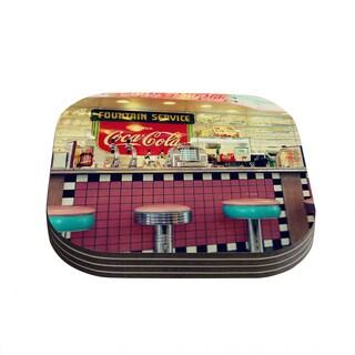 Kess InHouse Sylvia Cook 'Retro Diner' Coca Cola Coasters (Set of 4)
