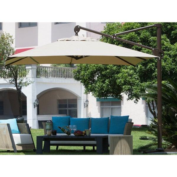 Abba Patio 10 Foot Square Tan Offset Cantilever Vertical Tilt Patio Umbrella  With Cross Base