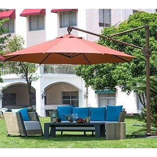 Abba Patio 11-foot Octagon Offset Cantilever Red Patio Umbrella with Vertical Tilt and Cross Base