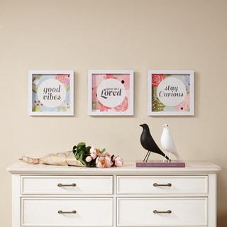 Intelligent Design Good Vibes Framed Gel Coated Paper 3-piece Set