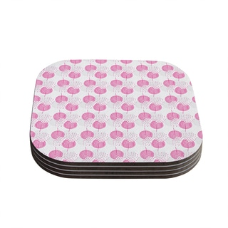 Kess InHouse Apple Kaur Designs 'Wild Dandelions' Pink Gray Coasters (Set of 4)