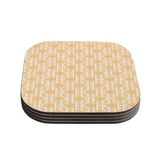 Kess InHouse Apple Kaur Designs 'Diamonds' Yellow Squares Coasters (Set of 4)