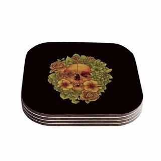Kess InHouse BarmalisiRTB 'Fragrant Dead' Green Illustration Coasters (Set of 4)