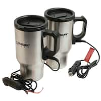 Wagan Tech 2227-1 SLV 2-count 16 Oz Stainless Steel Heated Travel Mug