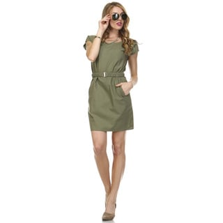 Tea n Rose Women's Cotton/Linen Blend Belted Shirt Dress
