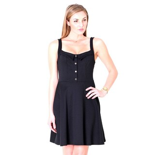 Tea N Rose Sleeveless Mock Collar A-Line Stretch Fitted Dress