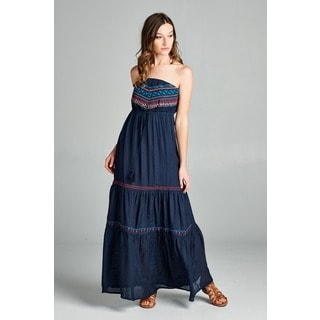 Orange Creek Women's Navy Tribal Embroidered Strapless Tassel Pleated Hem Maxi Dress