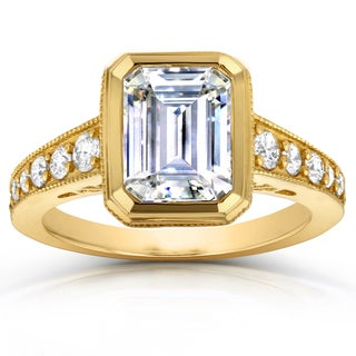 Annello by Kobelli 14k Yellow Gold 2 4/5ct TCW Emerald Cut Moissanite and Round Diamond Bezel Ring