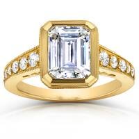 Annello by Kobelli 14k Yellow Gold 2 4/5ct TGW Emerald Cut Moissanite (HI) and Round Diamond Bezel Ring