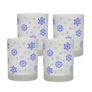 Culver Snowflake Blue Set of 4 14-ounce Double Old-fashioned Glasses