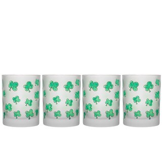 Culver Shamrocks Set of 4 14-Ounce Double Old-fashioned Glasses