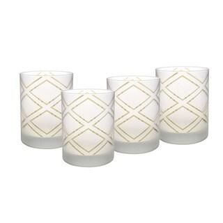 Culver DOF Set of 4 14-Ounce Glass Crosshatch Glasses