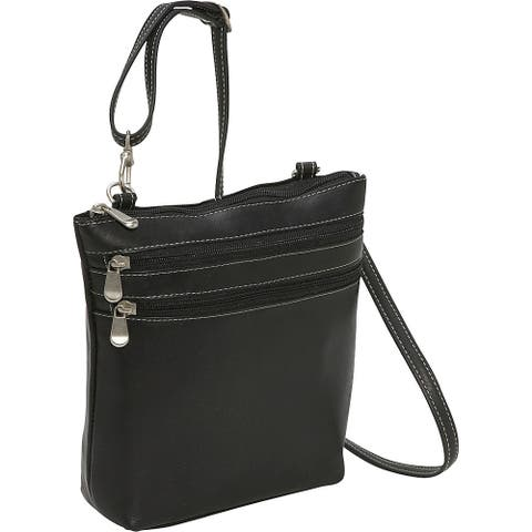 LeDonne Leather 3-zipper Crossbody Handbag