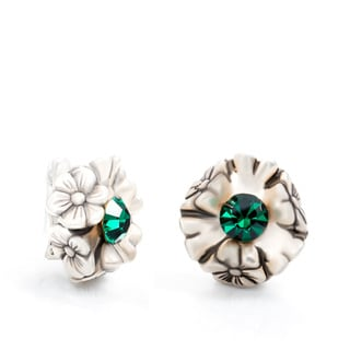 Dabby Reid 14K Gold Over Silver Emrald Green Florette Antique Clip Earrings