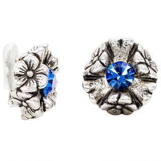 Dabby Reid Florette Sapphire Blue Crystal Handmade in New York Circa 1988 Limited Edition Antique Clip Earrings