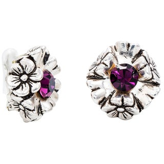 Dabby Reid Florette Amethyst Crystal 14k Gold Over Silver Antique Clip On Earring