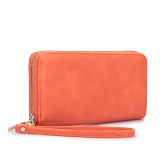 Dasein Zip Around Emblem Wallet (Option: Orange)