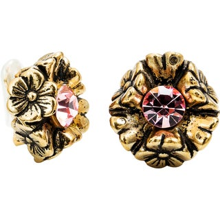 Dabby Reid 14K Gold and Pink Crystal Florette Antique Clip Earrings