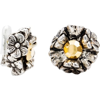 Dabby Reid 14K Gold White Crystal Florette Antique Clip Earrings