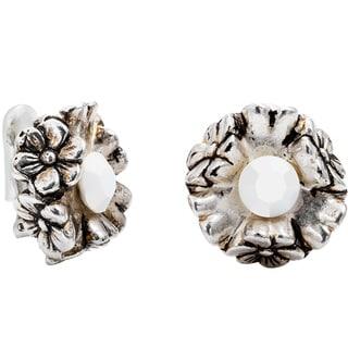 Dabby Reid Florette Antique Clip Earring, White Crystal.